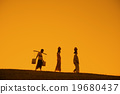 Silhouette of Asian traditional farmers 19680437