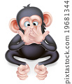 monkey, cartoon, listening 19681344