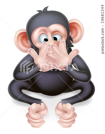 Speak No Evil Cartoon Monkey 19681344
