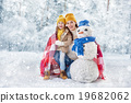 Mother and child girl on a winter walk 19682062