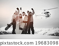 Snowboarders Mountain Ski Extreme Helicopter Concept 19683098