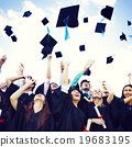 Graduation Caps Thrown Happiness Success Cocnept 19683195