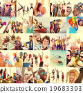 Collage Diverse Faces Summer Beach People Concept 19683393
