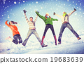 People Winter Jumping Snow Playful Concept 19683639