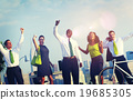 Green Business People Celebrating Successful Concept 19685305