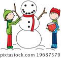 Happy Kids building a snowman 19687579