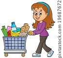Woman with full shopping cart 19687672