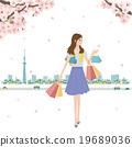 春天樱桃妇女购物例证 19689036