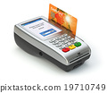 POS terminal with credit card isolated on white 19710749