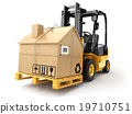 Delivery or moving houseconcept Forklift cardboard 19710751