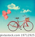 Retro bicycle with red heart shaped balloons. 19712925