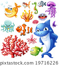 Sea animals and coral reef 19716226