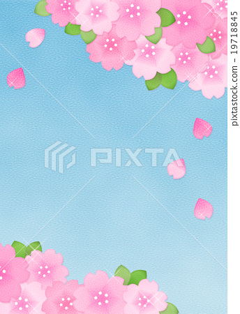 Beautiful cute cherry illustration material (Copy space · Vertical) Ohanami · Spring Material · Background 19718845
