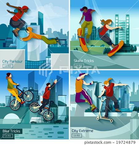 Stock Illustration: Extreme City Sports 2x2 Design Concept Set