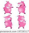 Cute pigs cheerful  funny dancing many actions 19726317