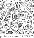 Japanese food - sushi doodle pattern 19727925