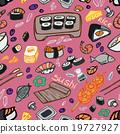 Japanese food - sushi doodle pattern 19727927