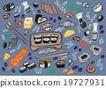 Japanese food - sushi doodle set  19727931