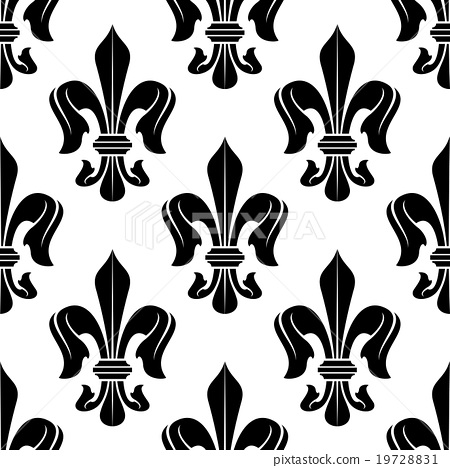Black and white fleur-de-lis floral pattern - Stock