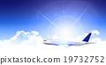 Airplane jet machine Sky background 19732752
