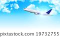 Airplane jet machine Sky background 19732755