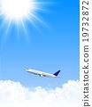 Airplane jet machine Sky background 19732872