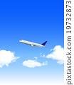 Airplane jet machine Sky background 19732873