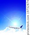 Airplane jet machine Sky background 19732874