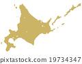 홋카이도지도 도트 골드 19734347