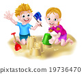 Boy and Girl Playing in the Sand 19736470