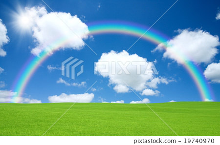Green field and rainbow 19740970