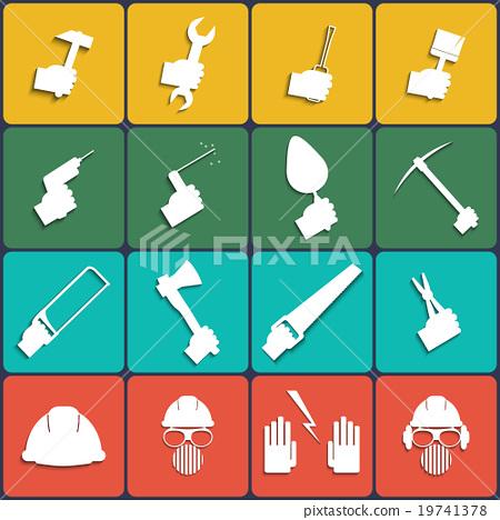 Hand tools icon set vector. Flat Design 19741378