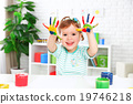 hands in colored paint  happy child girl 19746218