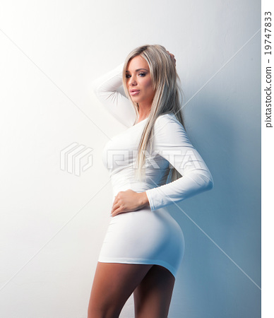 portrait of sexy beauty girl in white dress  stock photo