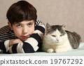 cat, girl, kissing 19767292