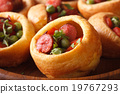 Yorkshire pudding with sausages macro. horizontal 19767293