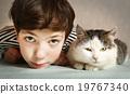 cat, girl, kissing 19767340