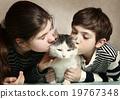 cat, girl, kissing 19767348
