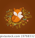 Fox, cute, lovely illustration and greetin card 19768332
