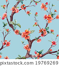 Watercolor vector sakura pattern 19769269