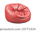 Red soft leather beanbag isolated 19771934