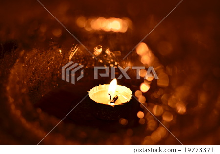 Shikara hot spring ice lantern dream prayers - Stock Photo