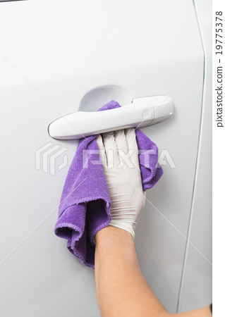 Stock Photo: Car polishing series : Cleaning white car
