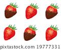 딸기, 초콜릿, 손으로 19777331