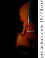 Closeup Violin orchestra musical instruments on black background 19778563