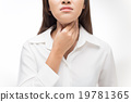 Sore throat woman on white background 19781365