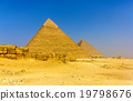 View of the Pyramids of Khafre and Khufu in Giza 19798676
