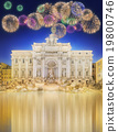 Trevi Fountain at night with beautiful fireworks 19800746