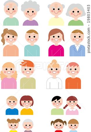 人們圖標很多年輕人和老人和年幼的孩子成人老人們微笑 19803403
