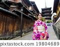 Japanese woman visit yasaka pagoda 19804689